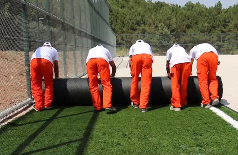 Construction Steps of FIFA Quality Artificial Football Turf